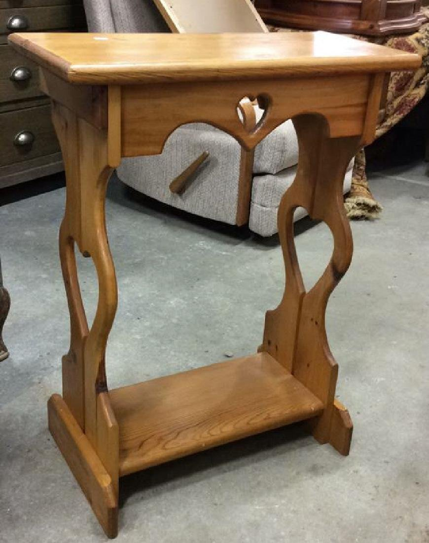 Carved Country Pine Side Table