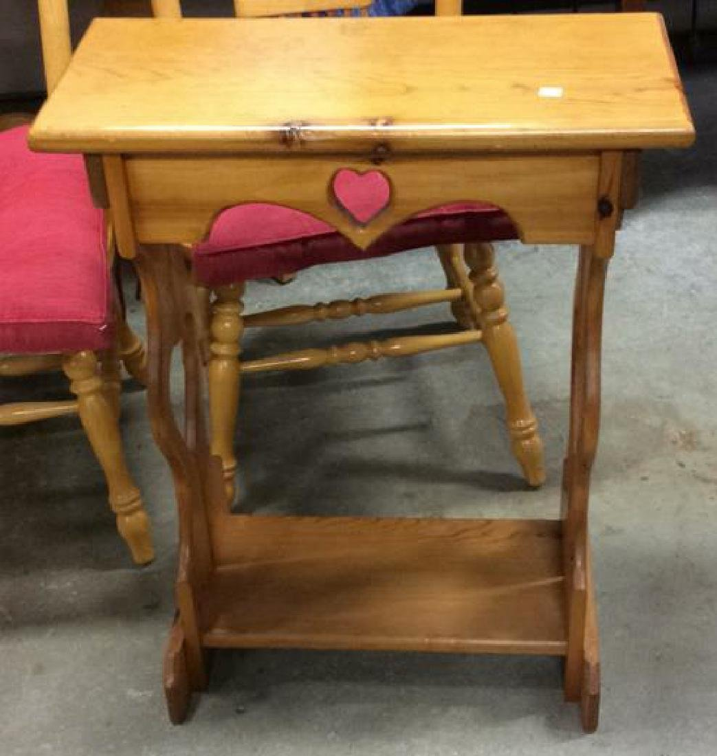 Carved Country Pine Side Table - 5