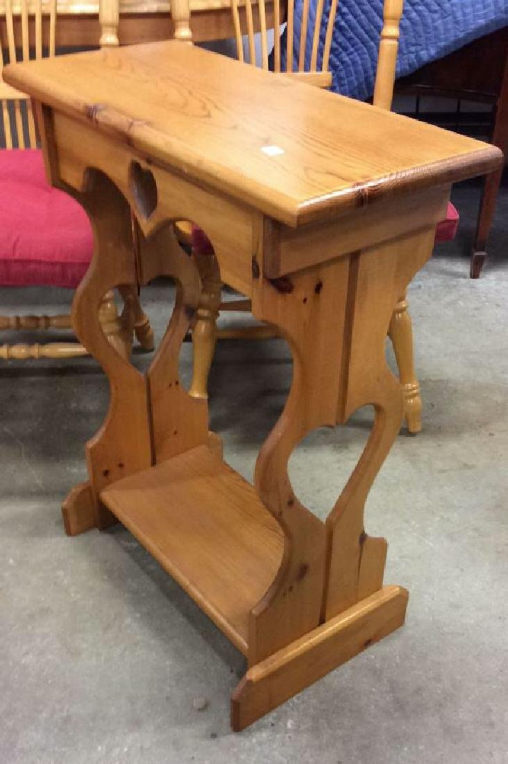 Carved Country Pine Side Table - 6
