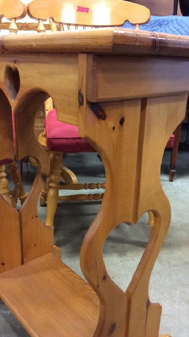 Carved Country Pine Side Table - 7