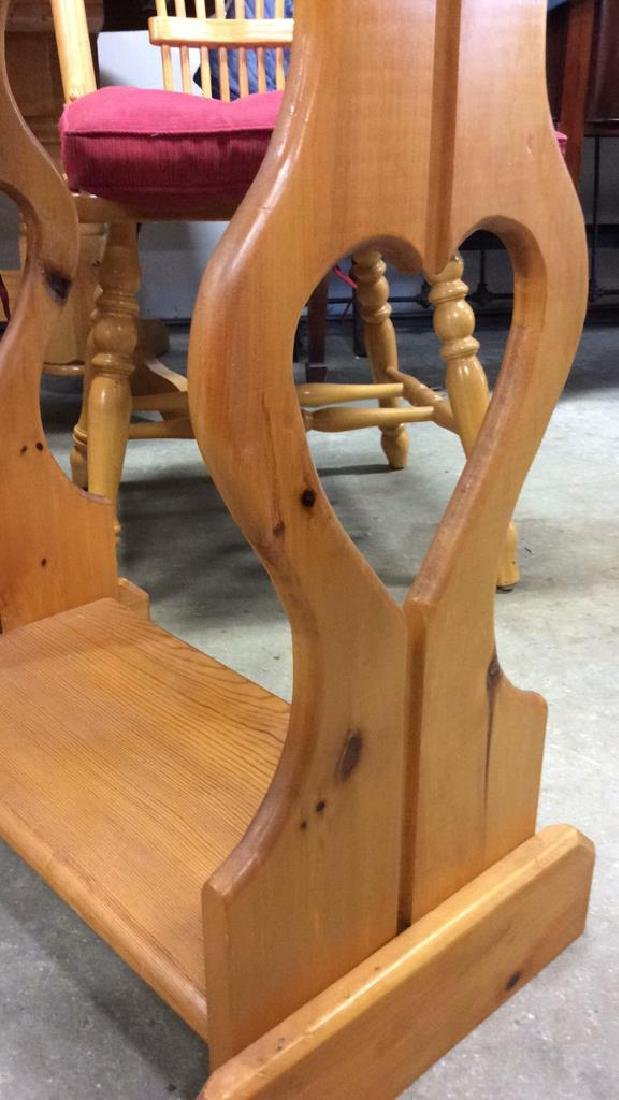 Carved Country Pine Side Table - 8