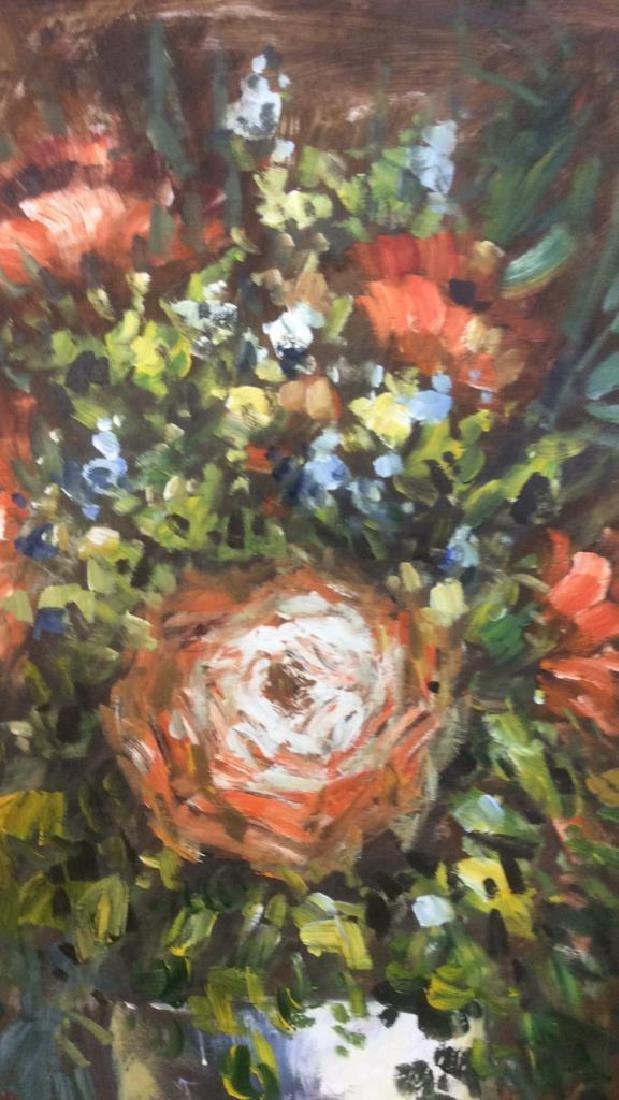 S HOFNER Framed Acrylic Floral on Canvas