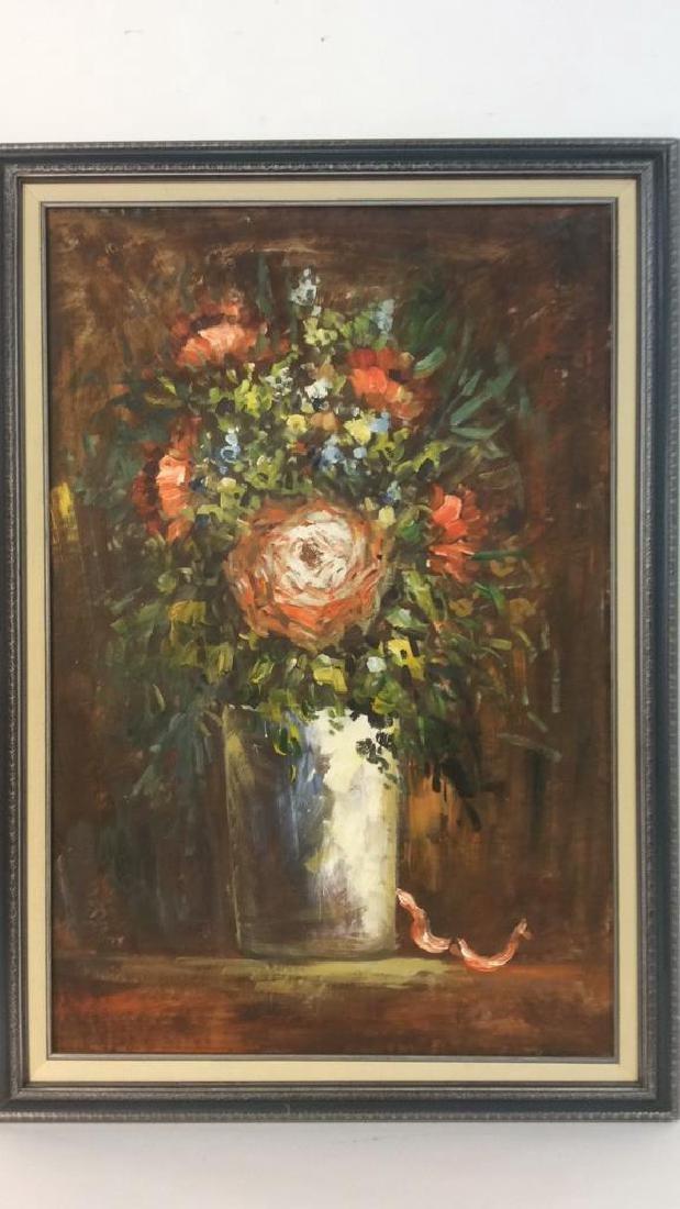 S HOFNER Framed Acrylic Floral on Canvas - 3