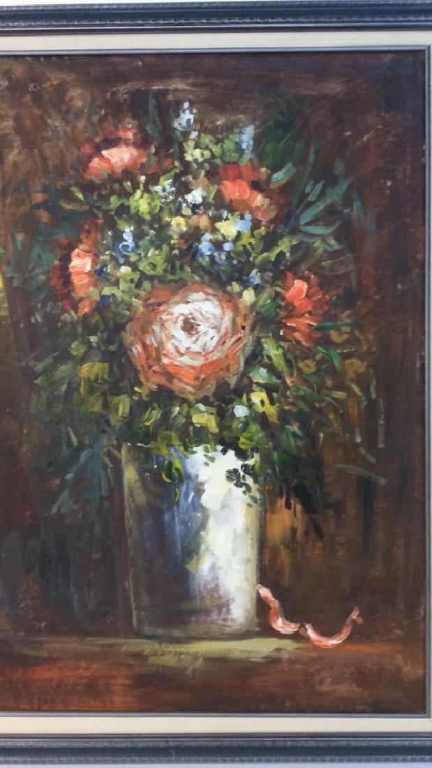 S HOFNER Framed Acrylic Floral on Canvas - 4