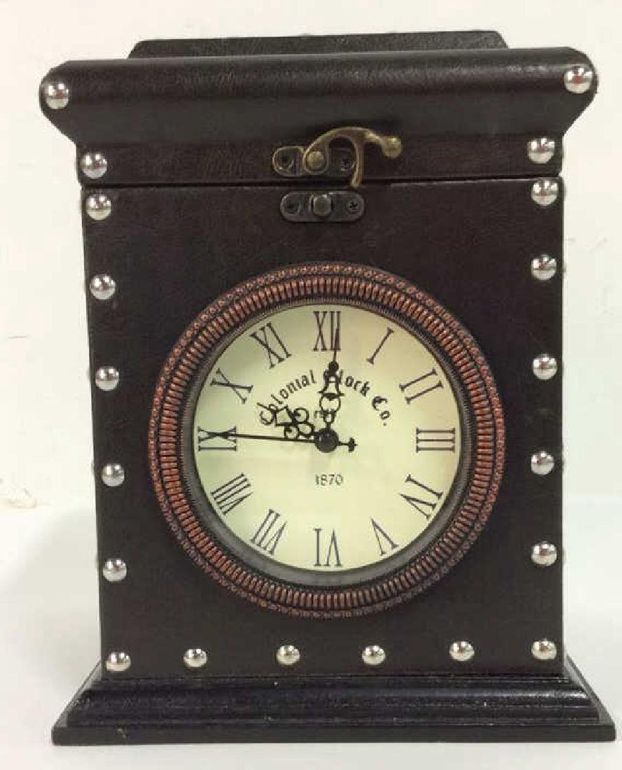 COLONIAL CLOCK CO Brown Toned Studded Clock