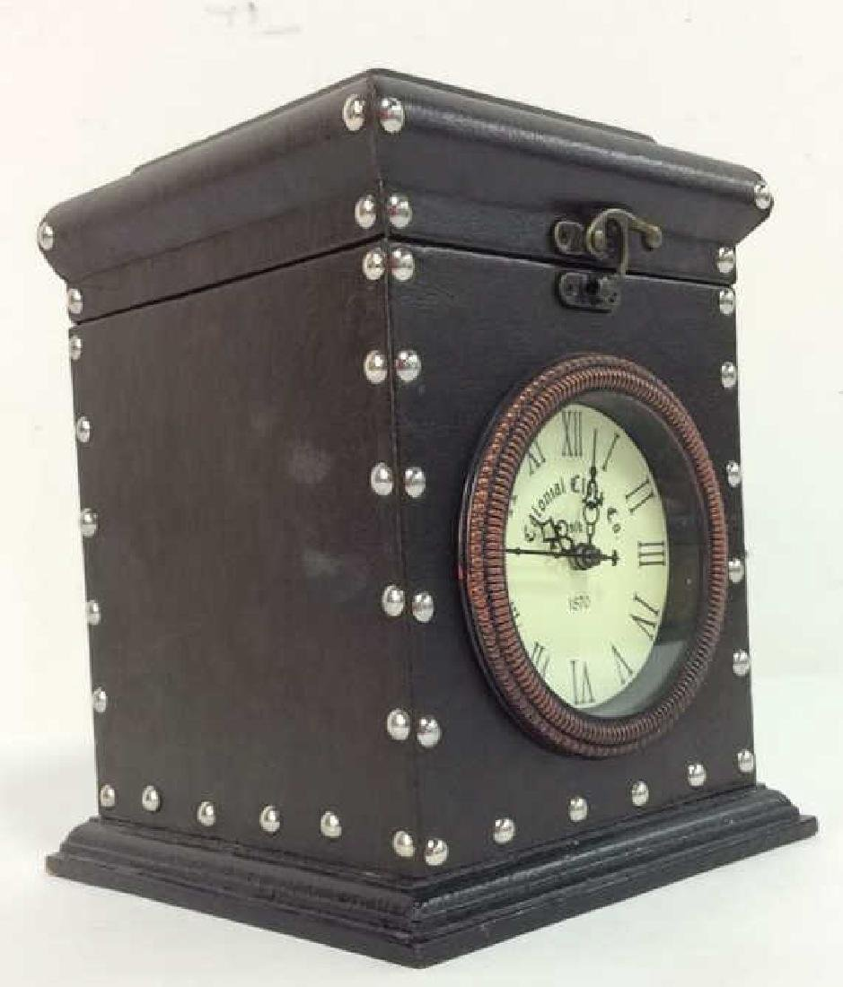 COLONIAL CLOCK CO Brown Toned Studded Clock - 2
