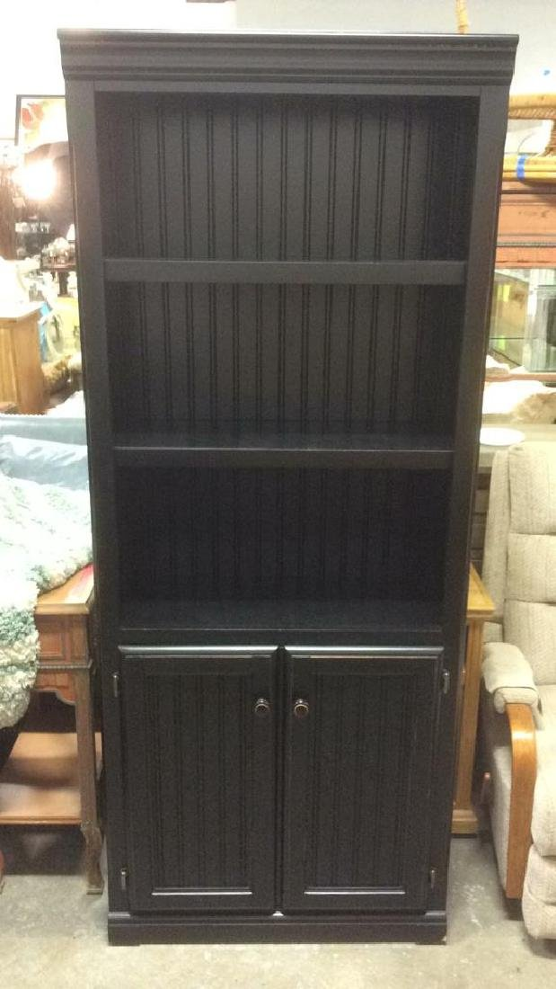 Black Toned Bookshelf w Cabinets - 2