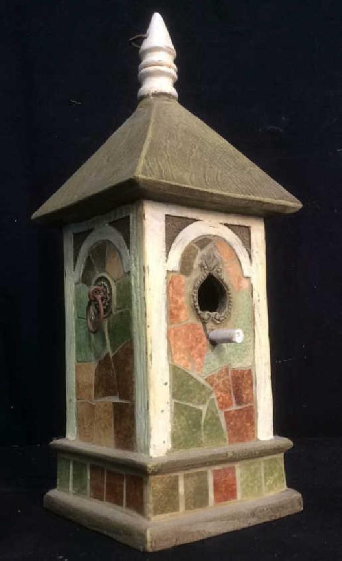 Ceramic Stone Schoolhouse Style Birdhouse