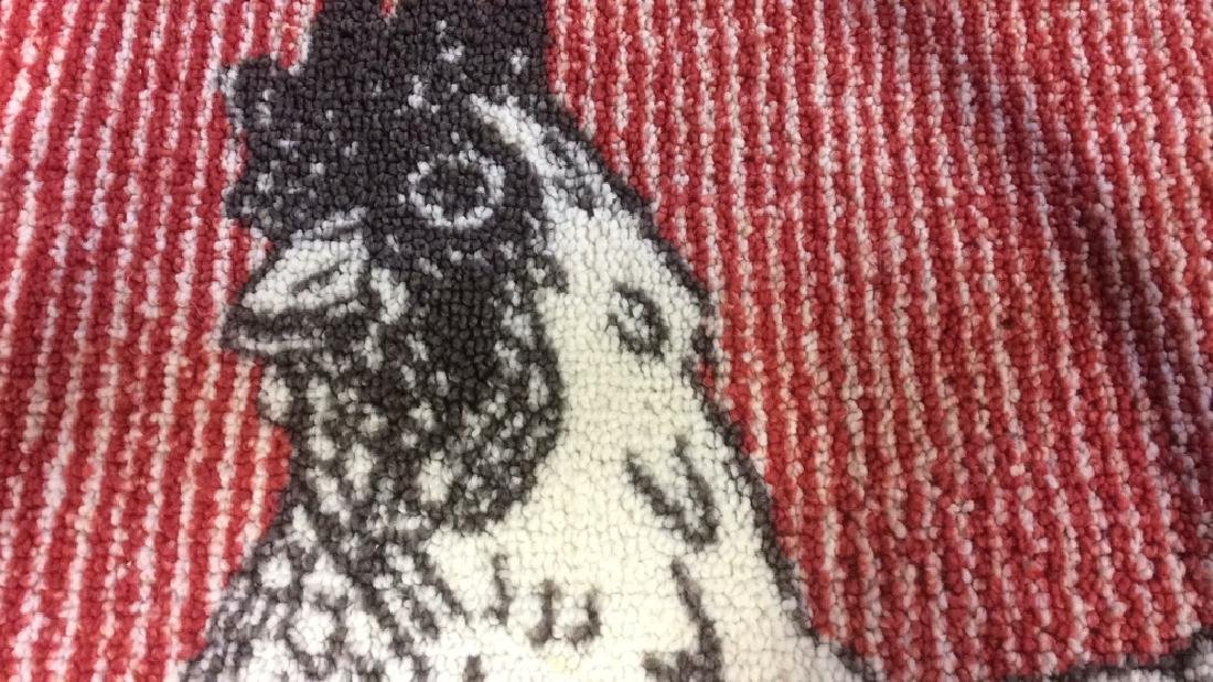 Red Black White Rooster Area Rug