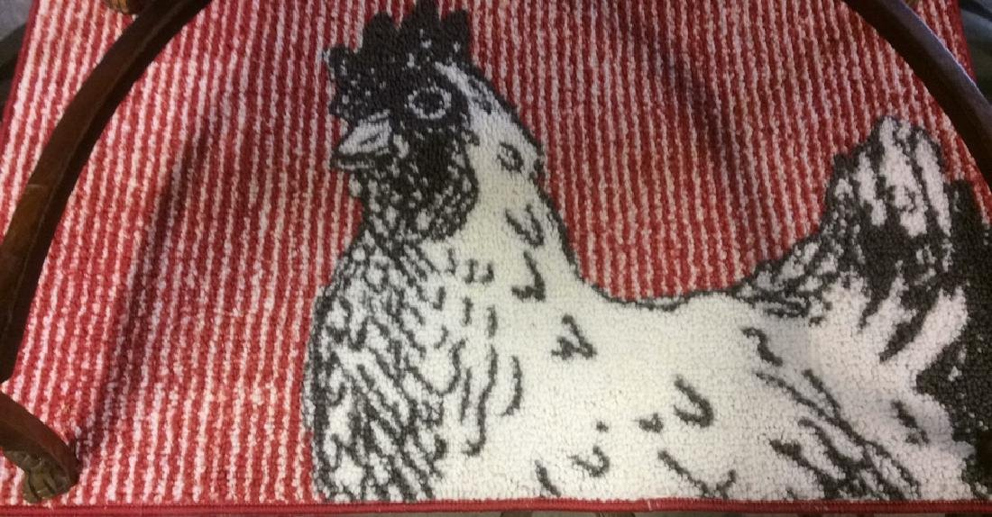 Red Black White Rooster Area Rug - 3