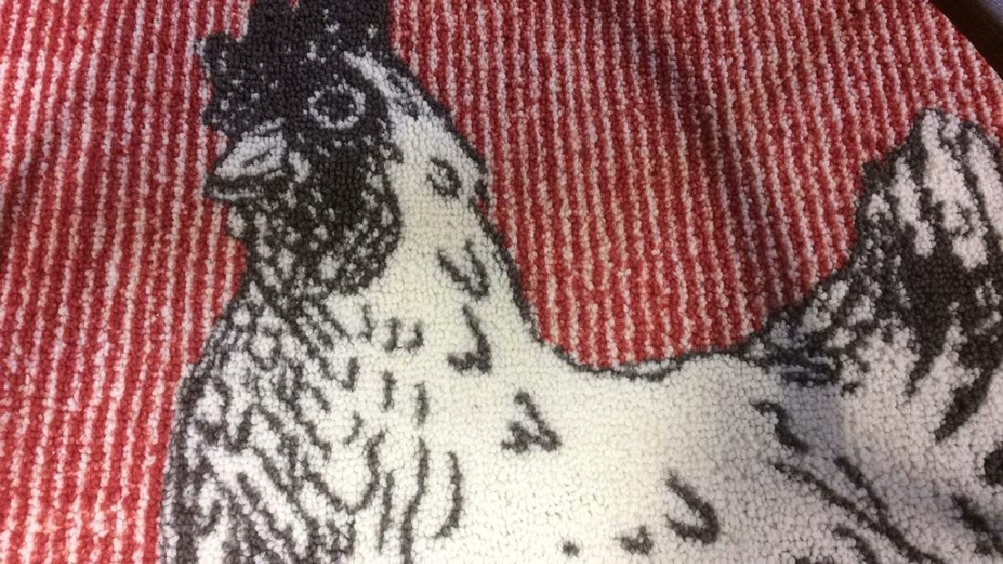 Red Black White Rooster Area Rug - 4