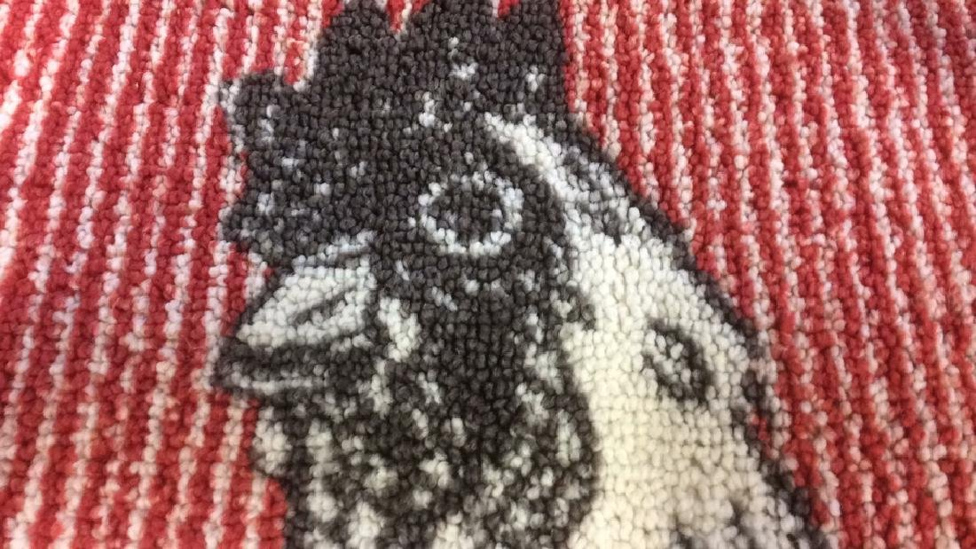 Red Black White Rooster Area Rug - 5