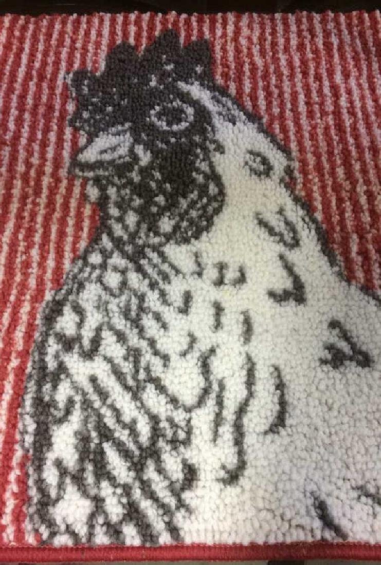 Red Black White Rooster Area Rug - 6