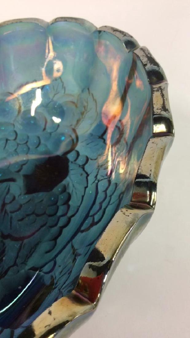 Amethyst/Blue Carnival Glass Bowl - 3