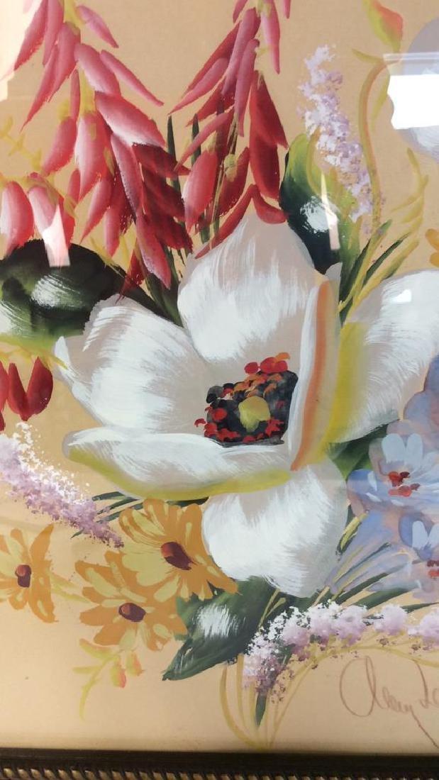 Framed Floral Artwork Signed