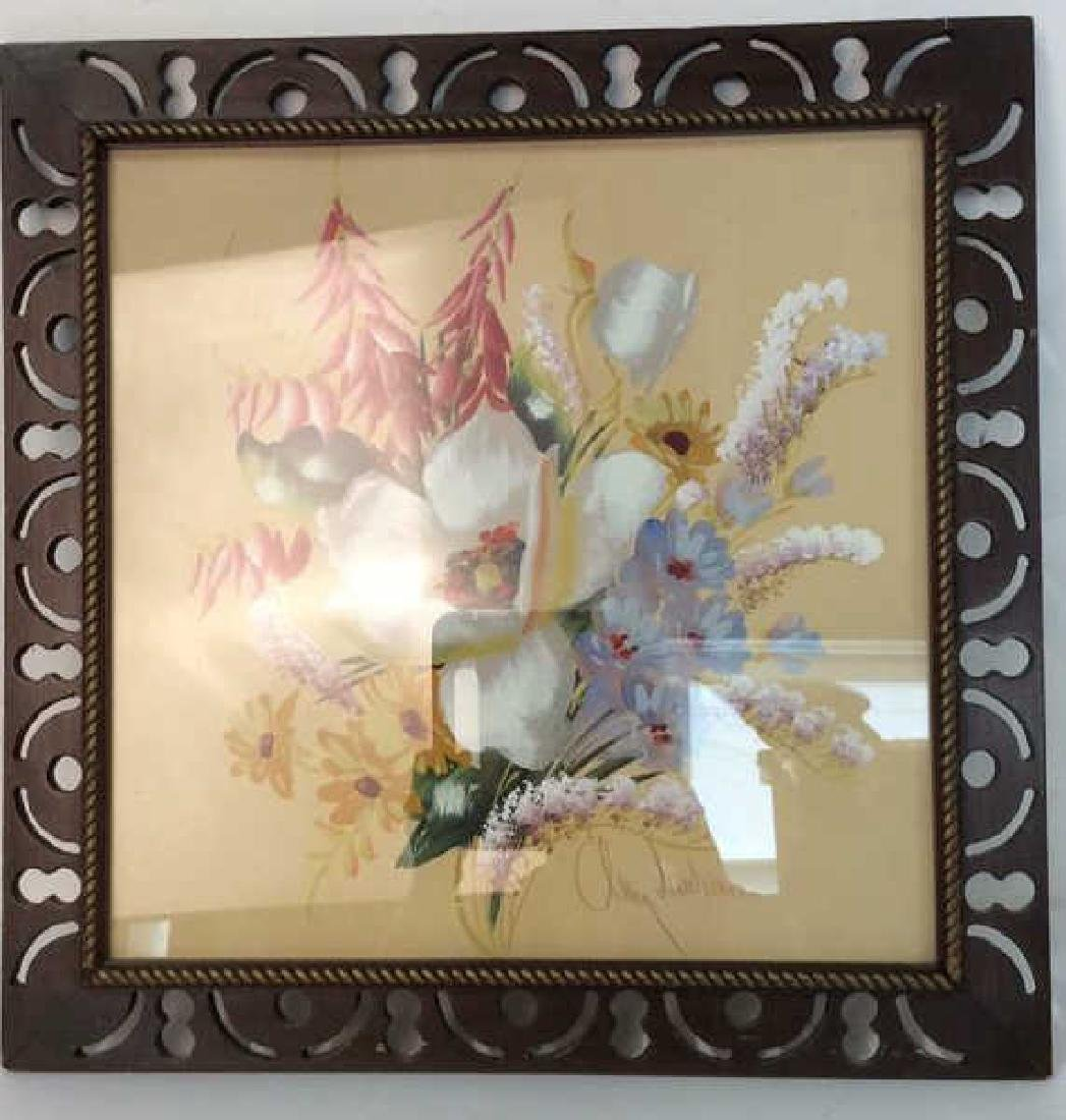 Framed Floral Artwork Signed - 2