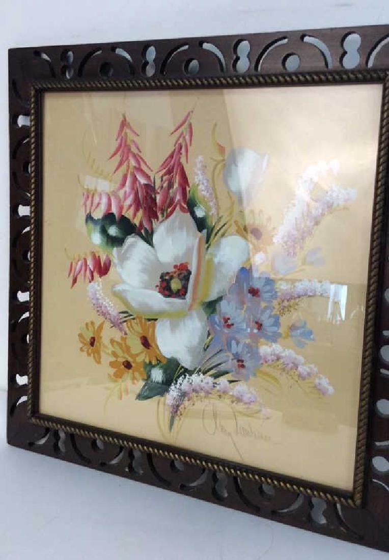 Framed Floral Artwork Signed - 3