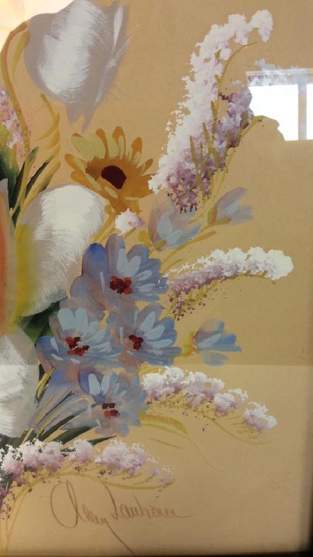 Framed Floral Artwork Signed - 5