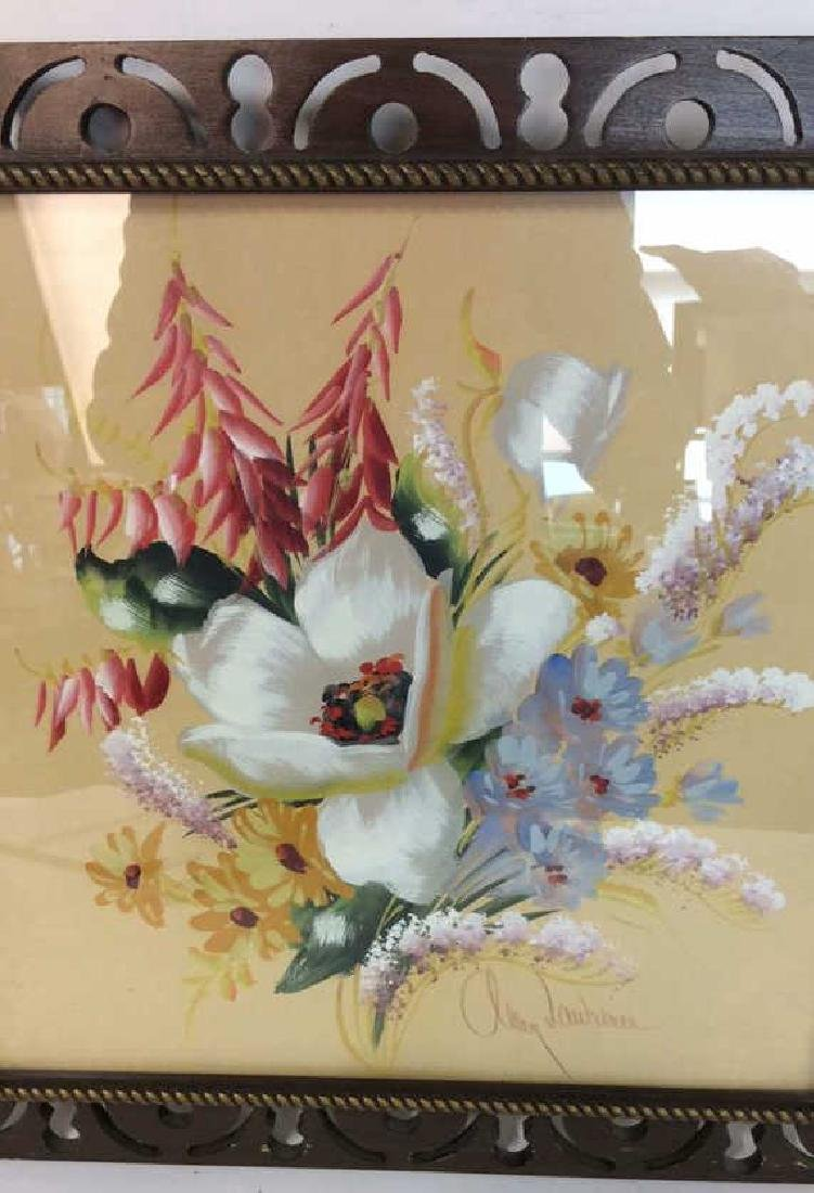 Framed Floral Artwork Signed - 6
