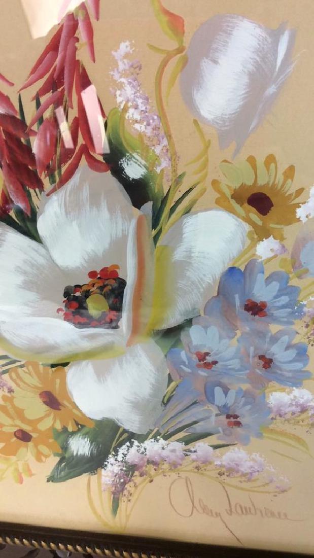 Framed Floral Artwork Signed - 7