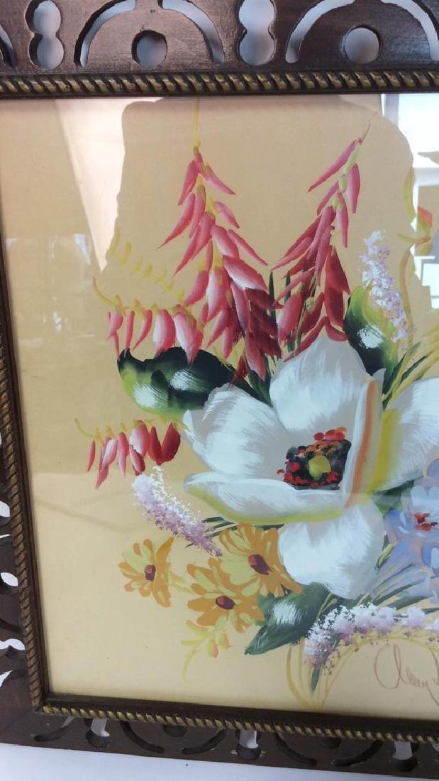 Framed Floral Artwork Signed - 8