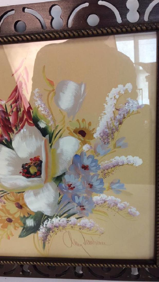 Framed Floral Artwork Signed - 9