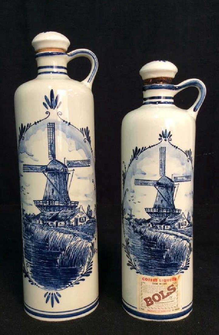 Lot 2 VINTAGE DELFT BLUE MADE IN HOLAND DECANTERS