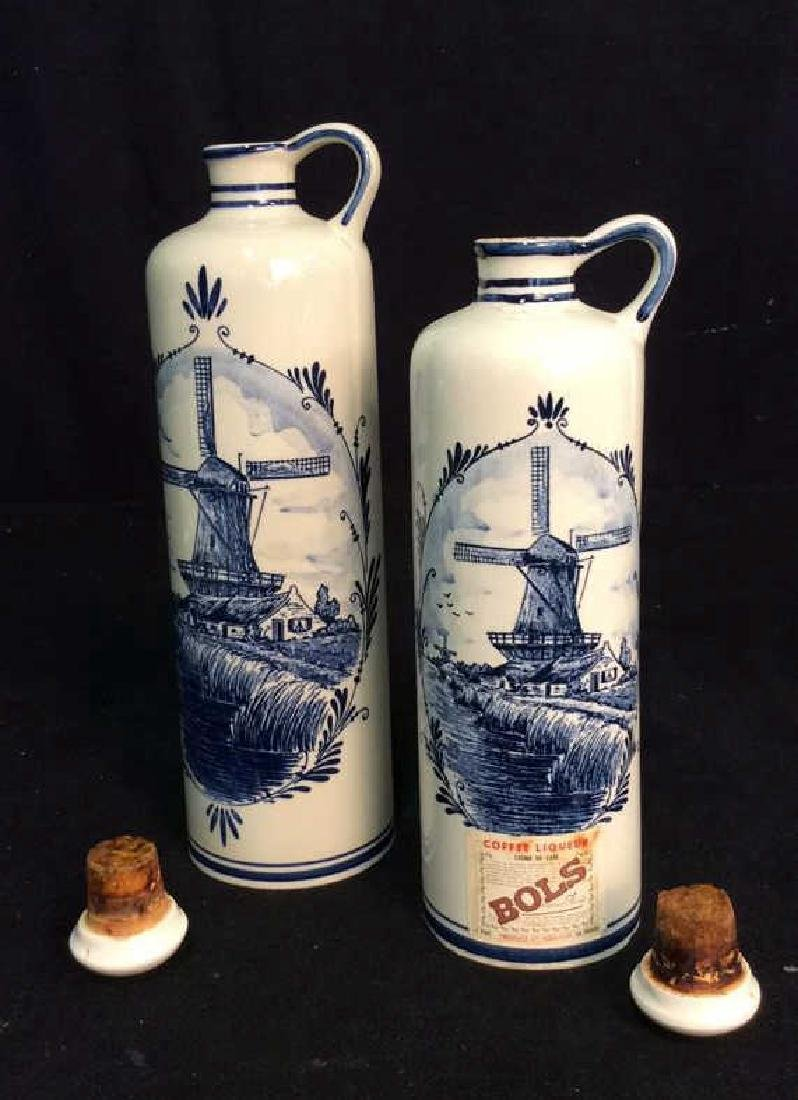 Lot 2 VINTAGE DELFT BLUE MADE IN HOLAND DECANTERS - 8