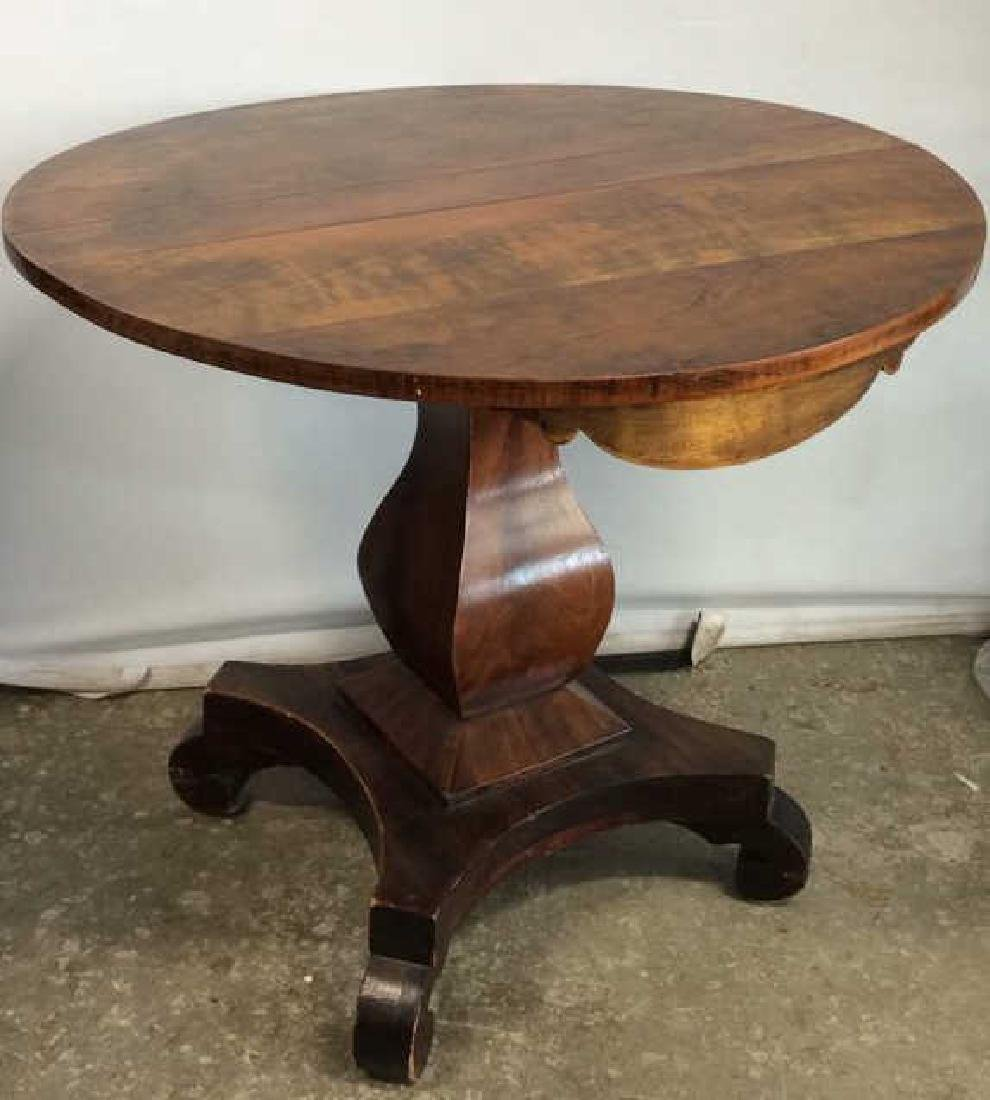 Round Wooden Pedestal Style Coffee Table
