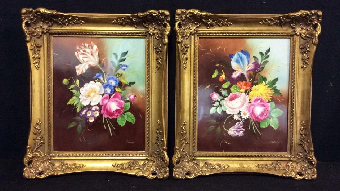 Lot 2 Framed Botanical German Painted Porcelain