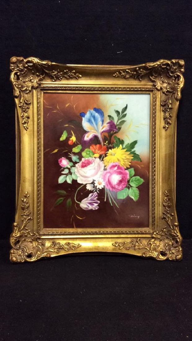 Lot 2 Framed Botanical German Painted Porcelain - 2