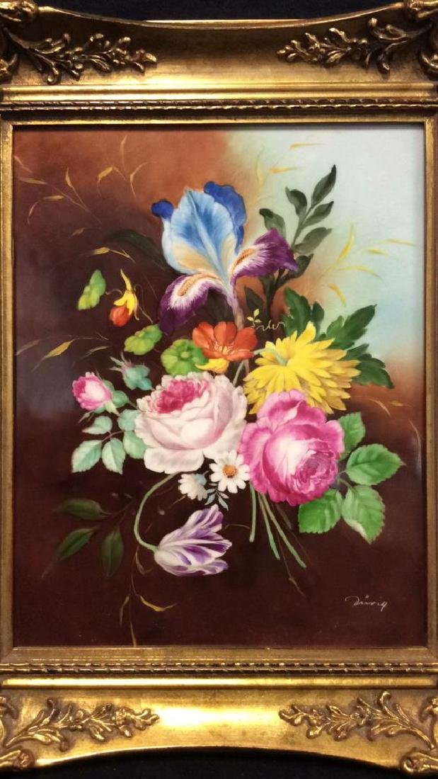 Lot 2 Framed Botanical German Painted Porcelain - 3