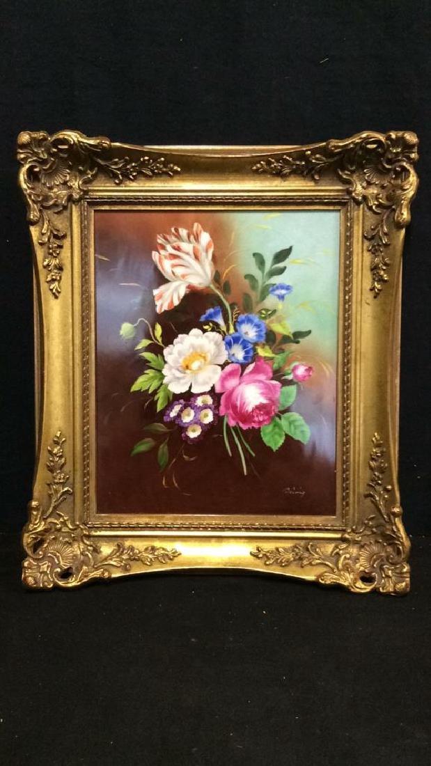 Lot 2 Framed Botanical German Painted Porcelain - 6