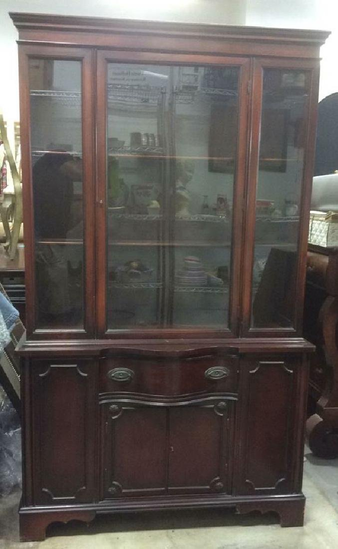 Mahogany and Glass Vintage China Cabinet