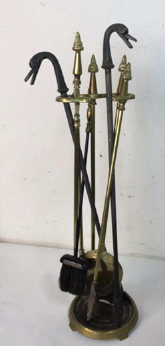 Brass And Metal Duck Head Fireplace Tools