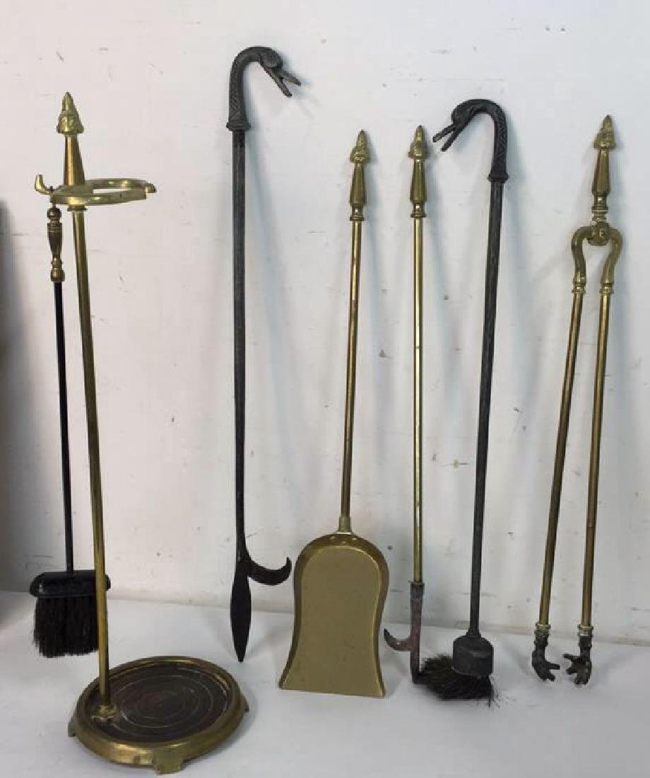 Brass And Metal Duck Head Fireplace Tools - 2