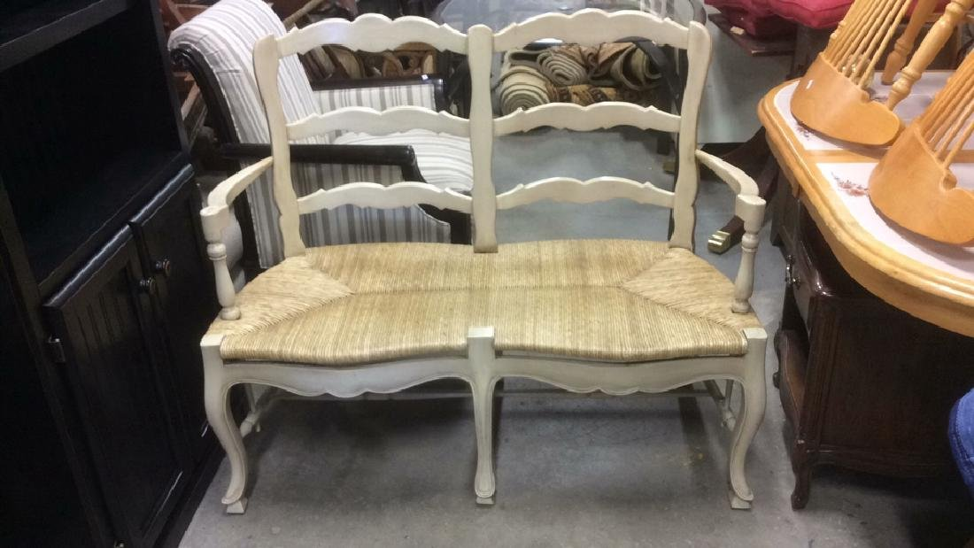 Wooden Bamboo Cream Toned Bench