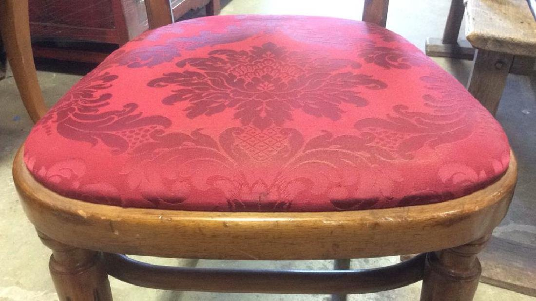 Pair Vintage Wooden Floral Motif Cushioned Chairs - 10