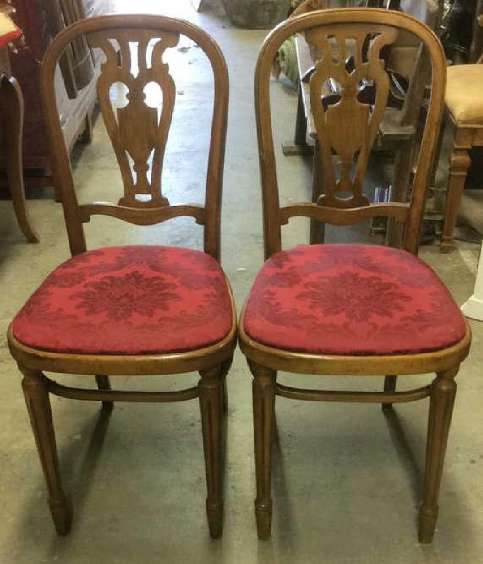 Pair Vintage Wooden Floral Motif Cushioned Chairs