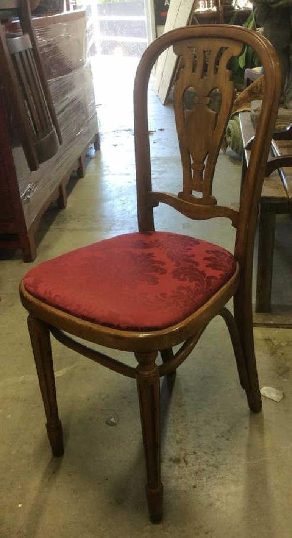 Pair Vintage Wooden Floral Motif Cushioned Chairs - 2