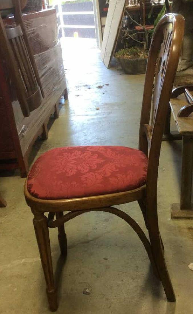 Pair Vintage Wooden Floral Motif Cushioned Chairs - 3