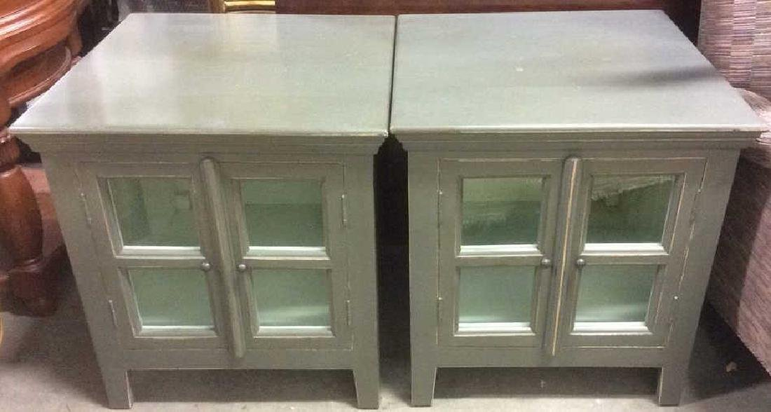 Pair Slate Green Toned Nightstands