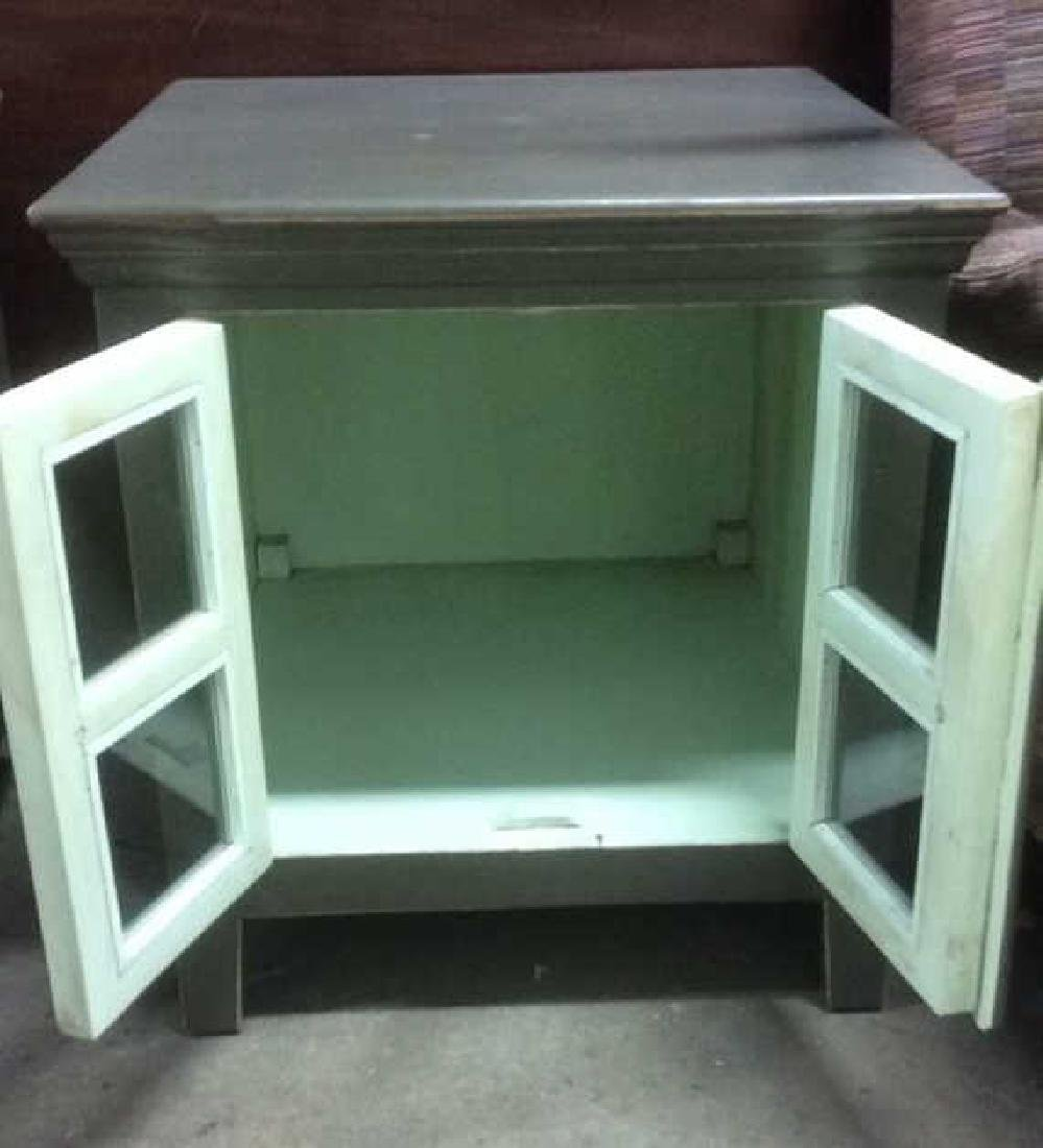 Pair Slate Green Toned Nightstands - 3