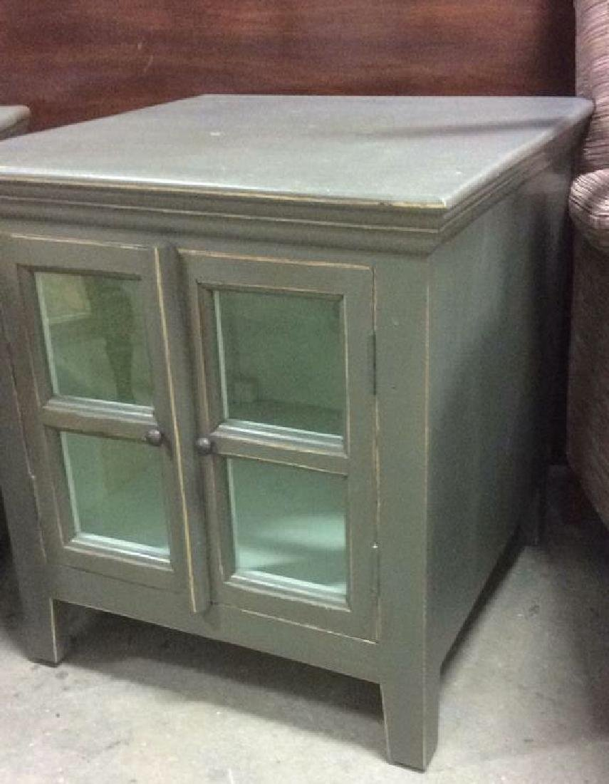 Pair Slate Green Toned Nightstands - 7