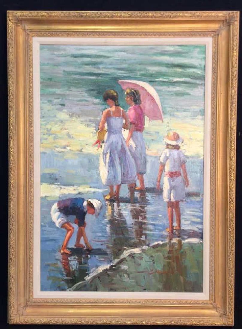 Impressionist Oil Sea Shore Painting On Canvas