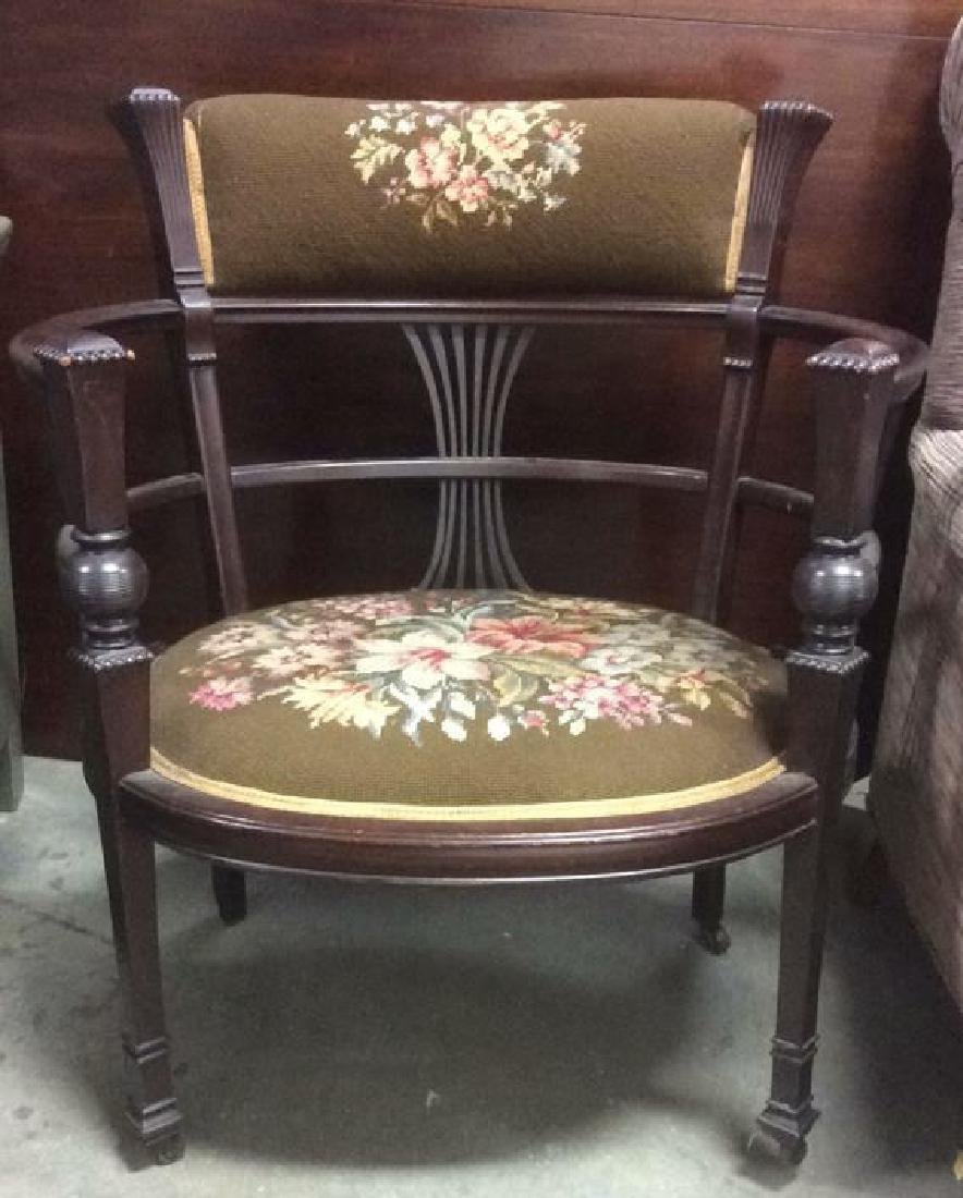 Antique Armchair W Needlepoint Upholstery