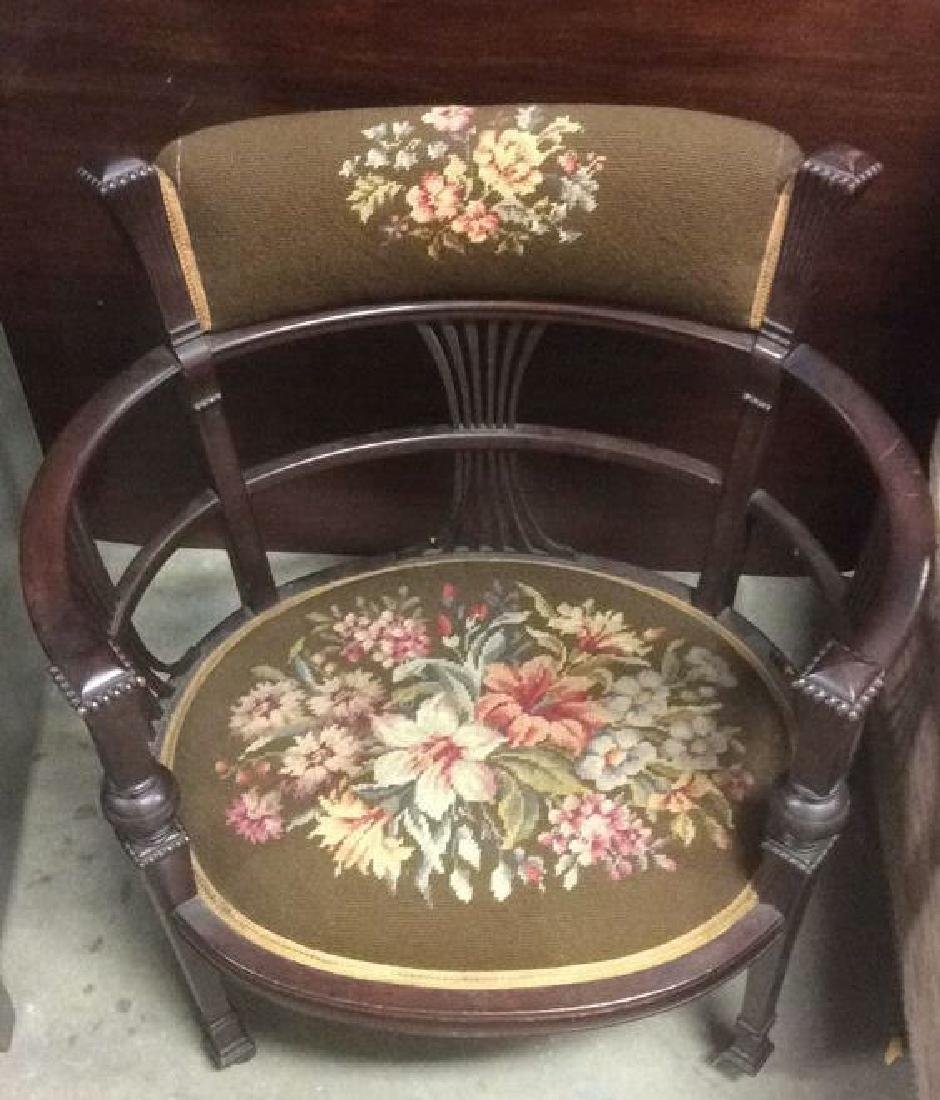Antique Armchair W Needlepoint Upholstery - 2