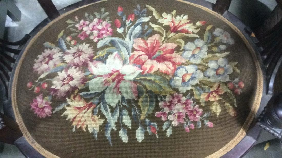 Antique Armchair W Needlepoint Upholstery - 3