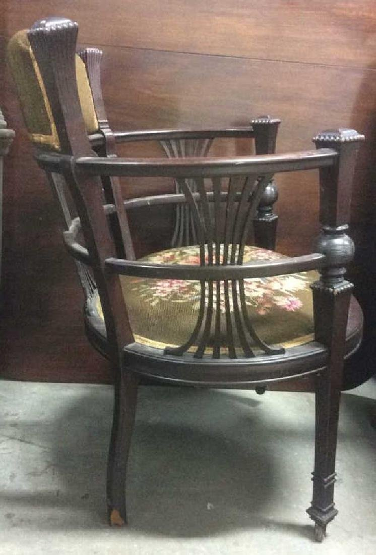 Antique Armchair W Needlepoint Upholstery - 6