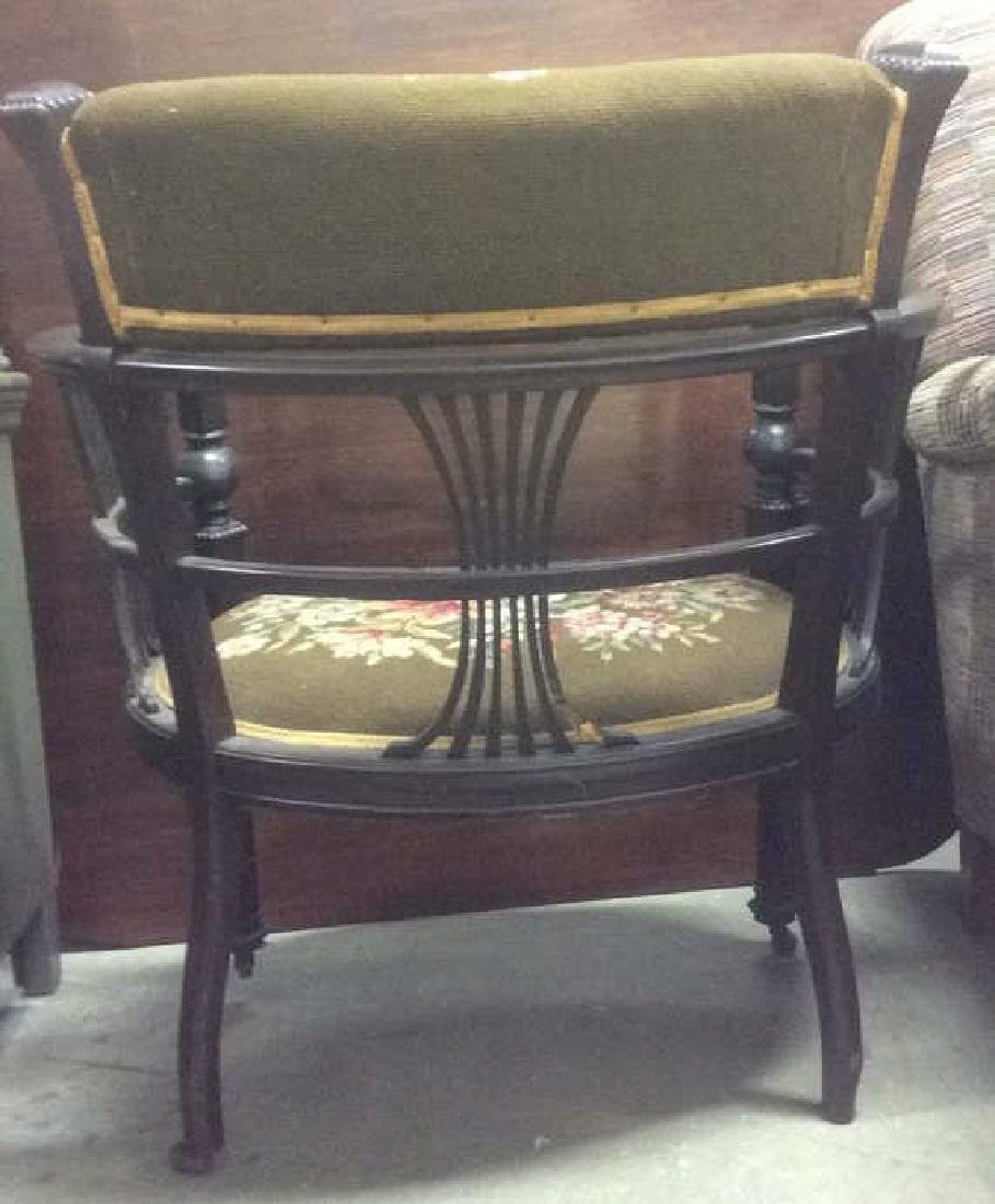 Antique Armchair W Needlepoint Upholstery - 7